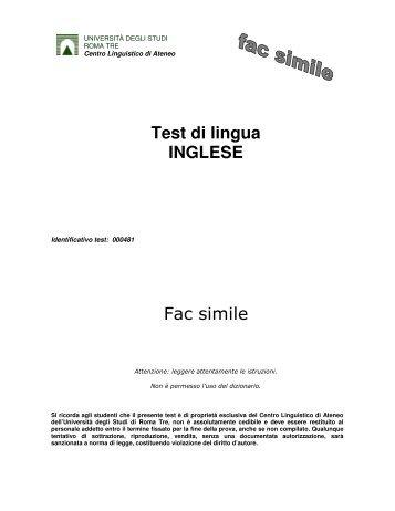 Test di lingua INGLESE - Centro Linguistico d'Ateneo - Università ...