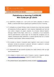 Piattaforma e-learning CLAONLINE Mini Guida per gli utenti