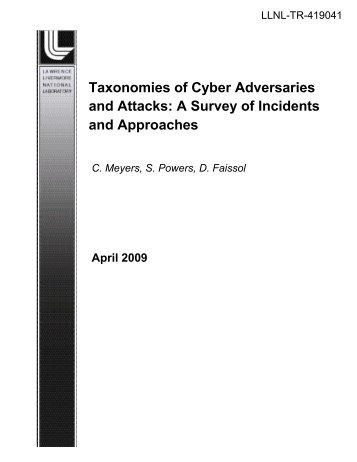 Taxonomies of Cyber Adversaries and Attacks - Site Index Page ...