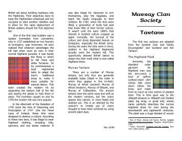 Murray Clan Society Tartans - Murray Clan Society NA