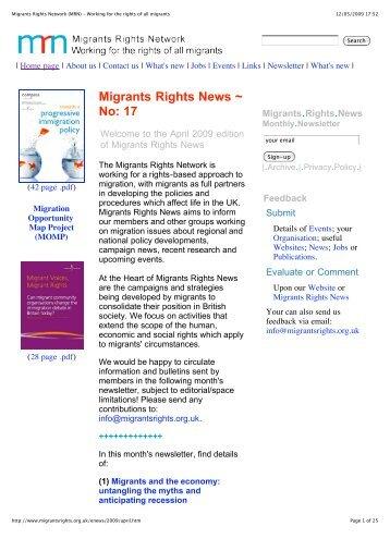 No: 17 - Migrants' Rights Network
