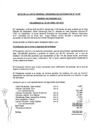 ACTA DE LA JUNTA GENERAL ORDINARIA DE ACCIONISTAS N ...