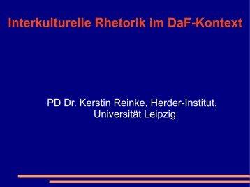 Interkulturelle Rhetorik im DaF-Kontext - Dr. Kerstin und Dietmar ...