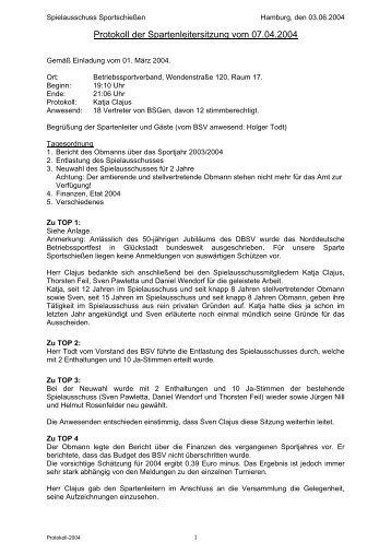 Protokoll der Spartenleitersitzung vom 04 - BSV Hamburg