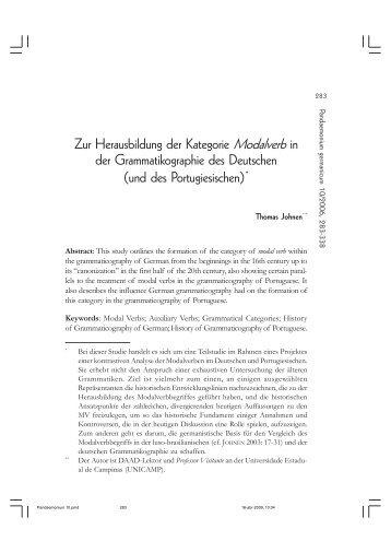 Zur Herausbildung der Kategorie Modalverb in der ... - fflch