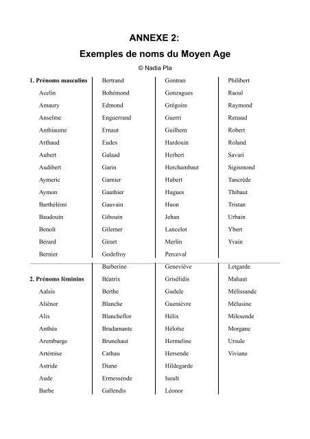 Annexe 2 Exemples De Noms Du Moyen Age