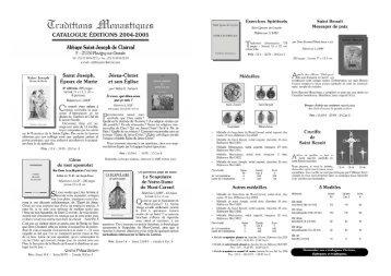 catalogue éditions - Saint Joseph de Clairval Abbey in Flavigny