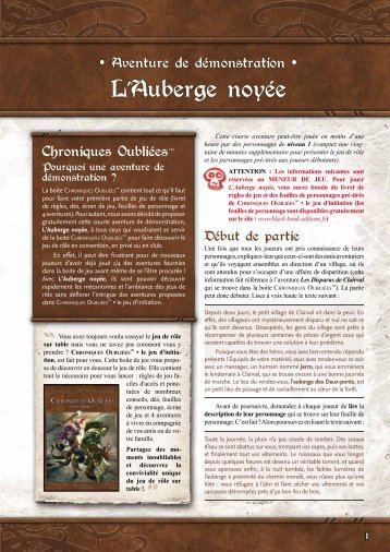 scénario gratuit : L'auberge noyée - Black Book Editions