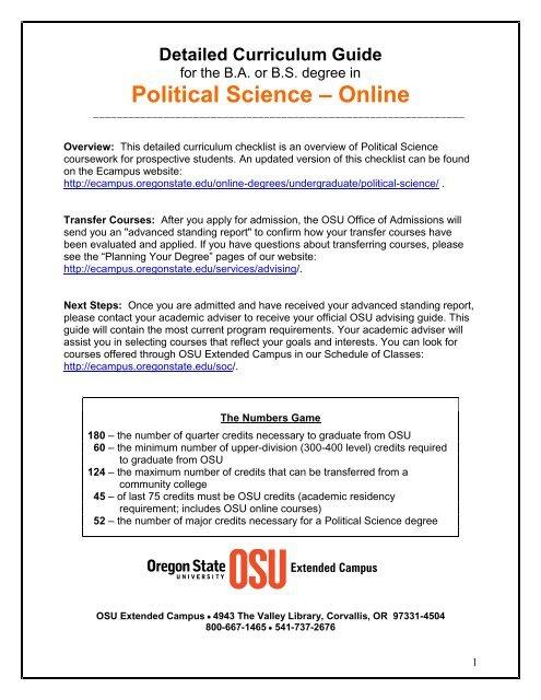 Detailed Curriculum Guide - Oregon State University Ecampus