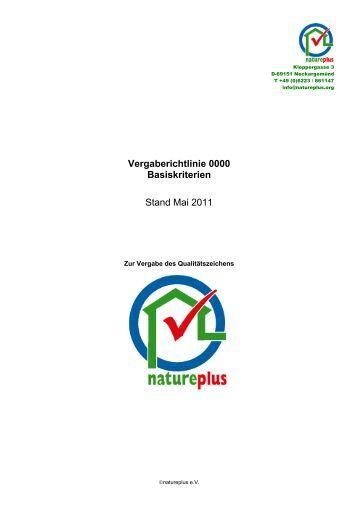 Vergaberichtlinie 0000 Basiskriterien Stand Mai 2011 - natureplus