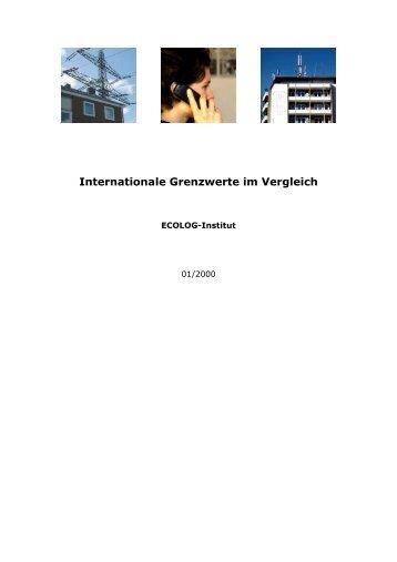 Internationale Grenzwerte im Vergleich - Ecolog-Institut