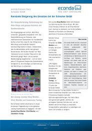 Konstante Steigerung des Umsatzes bei der Schecker GmbH
