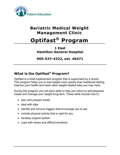 Bariatric Medical Weight Management Clinic Optifast Program