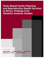 Clinic-based Family Planning and Reproductive Health Services in ...