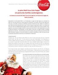 Le père Noël Coca-Cola frappe à la porte des ... - Press information