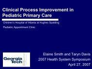 Clinical Process Improvement in Pediatric Primary Care