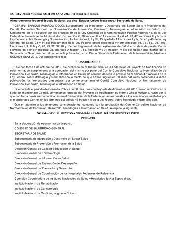 NORMA Oficial Mexicana NOM-004-SSA3-2012, Del expediente ...