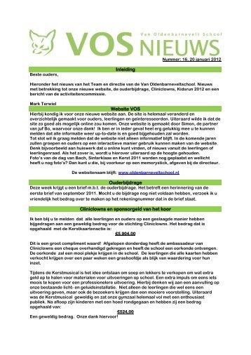 Inleiding Website VOS Ouderbijdrage Cliniclowns en sponsorgeld ...
