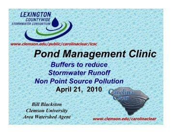 Pond Management Clinic - Clemson University