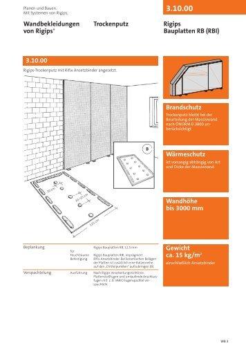 3.10.00 Brandschutz Wärmeschutz Wandhöhe bis 3000 mm - Rigips
