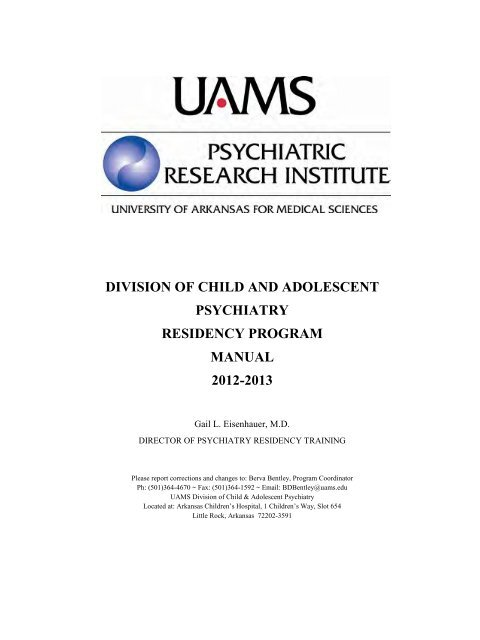 division of child and adolescent psychiatry residency program