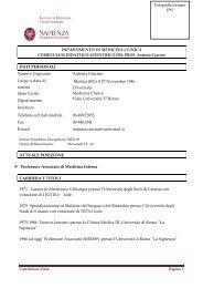 Curriculum Vitae Pagina 1 DIPARTIMENTO DI MEDICINA CLINICA ...