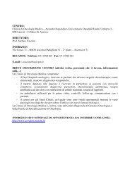 CENTRO: Clinica di Oncologia Medica – Azienda Ospedaliero ...