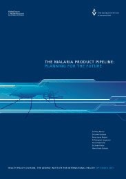 THE MALARIA PRODUCT PIPELINE: PLANNING ... - Policy Cures