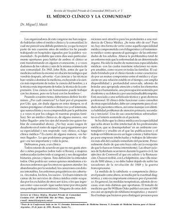 EL MÉDICO CLÍNICO Y LA COMUNIDAD* - Hospital Privado de ...