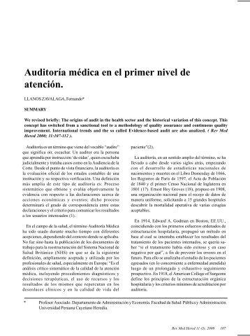 Auditoría médica en el primer nivel de atención. - SciELO