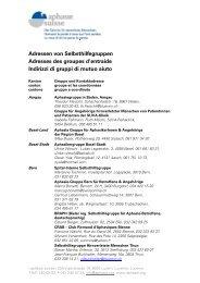 Adressen von Selbsthilfegruppen Adresses des ... - Aphasie Suisse