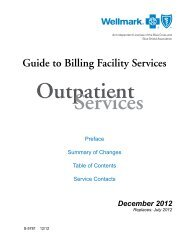 Guide to Billing Facility Services - Wellmark Blue Cross and Blue ...