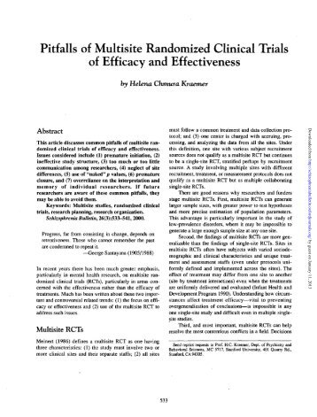Pitfalls of Multisite Randomized Clinical Trials of Efficacy and ...
