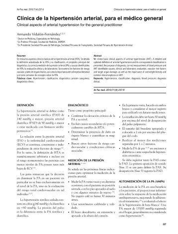 Clínica de la hipertensión arterial, para el médico general - SciELO