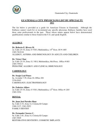 GUATEMALA CITY PHYSICIANS LIST BY SPECIALTY