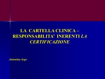 LA CARTELLA CLINICA – RESPONSABILITA ... - Aulett@'99