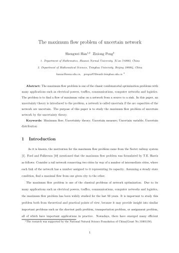 The maximum flow problem of uncertain network