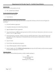 Requirements For Provider Type 33 – Certified Nurse Midwife