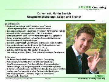 Dr. rer. nat. Martin Emrich Unternehmensberater, Coach und Trainer