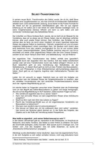 SELBST-TRANSFORMATION - CNLPA