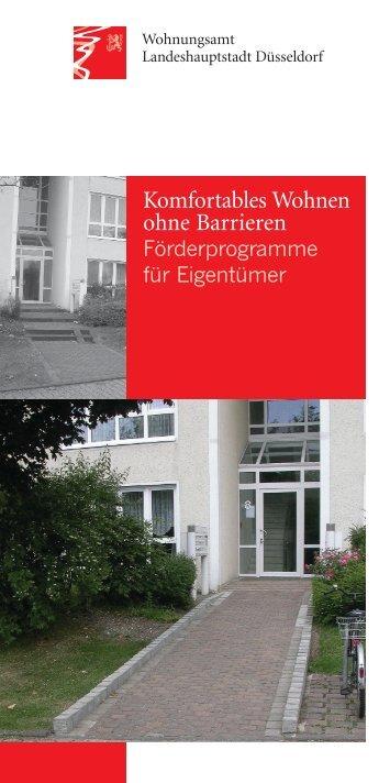 """Flyer """"Komfortables Wohnen ohne Barrieren"""" - Stadt Düsseldorf"""
