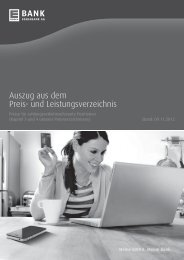 Auszug aus dem Preis- und Leistungsverzeichnis - EDEKABANK AG