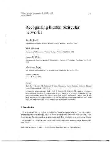 Recognizing hidden bicircular networks - James B. Orlin