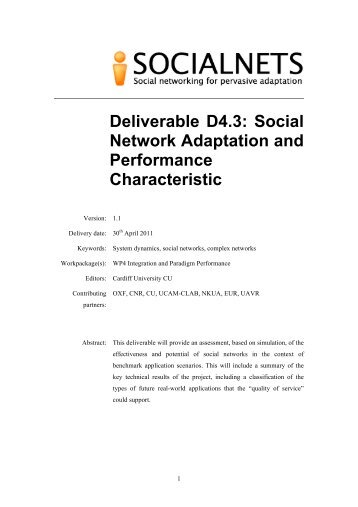 Social Network Adaptation and Performance ... - Socialnets