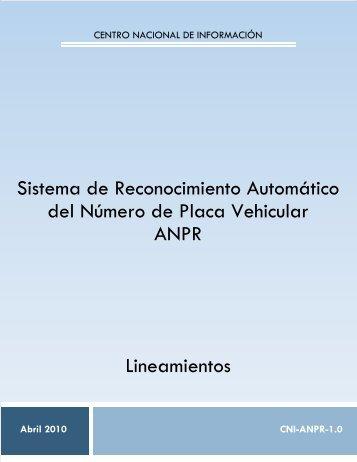 LINEAMIENTO ANPR V1 - SE SNSP - Secretariado Ejecutivo