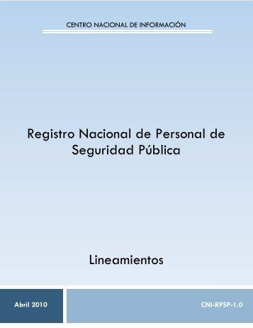 LINEAMIENTO RNPSP V1 PARA DOF v3 - SE SNSP - Secretariado ...