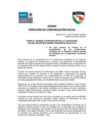 sesnsp dirección de comunicación social - SE SNSP - Secretariado ...