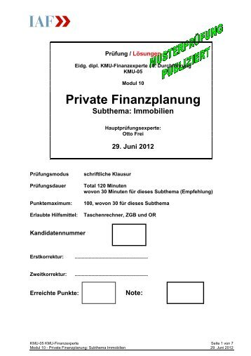Nullserie 2012 - Modul 10 PrivFP - Teil Immobilien