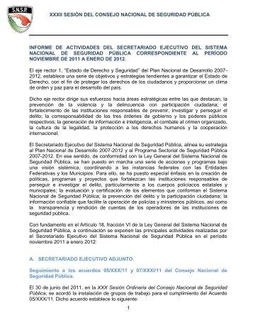 Informe Secretario Ejecutivo Sesión XXXII - Secretariado Ejecutivo