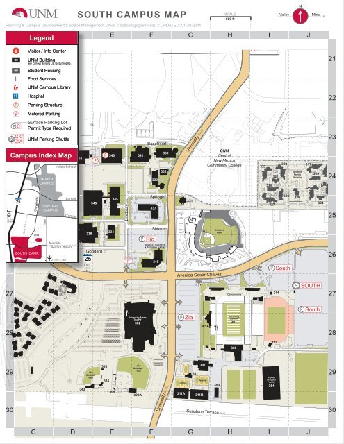 unm south campus map South Campus Map Institutional Support Services University Of